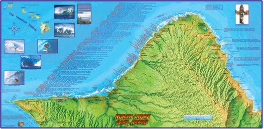 Oahu North Shore Surf Map Poster