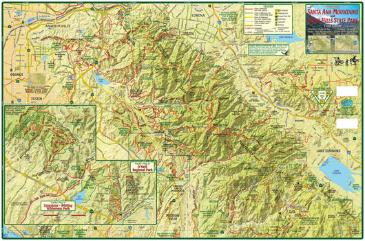Santa Ana Mountains & Chino Hills Trail Map – Franko Maps on