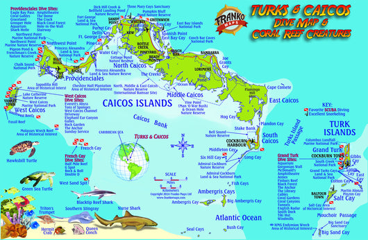 Turks & Caicos Dive Map & Fish ID