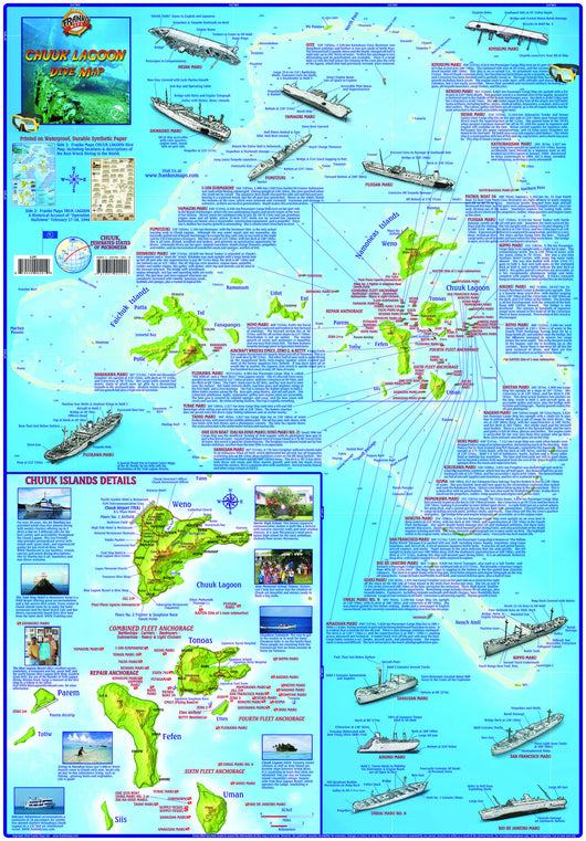 Chuuk (Truk) Lagoon Dive Map & Operation Hailstone Laminated Poster