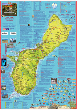 Guam Adventure & Dive Guide Map Laminated Poster