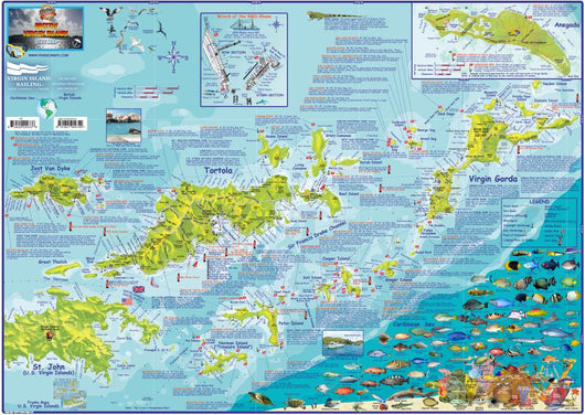 British Virgin Islands BVI Dive & Guide Map Laminated Poster