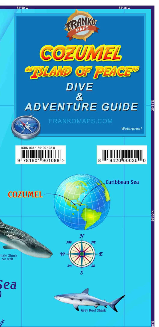 Cozumel Mexico Dive & Adventure Guide Map