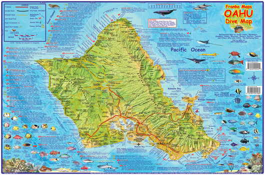 Oahu Dive Map Laminated Poster
