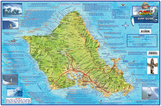 Oahu Surf Map Laminated Poster