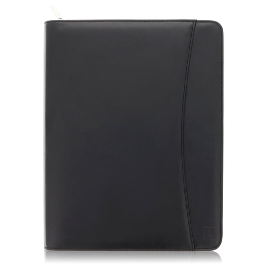 Black Zippered Napa-Like PU Leather Portfolio with 10.5