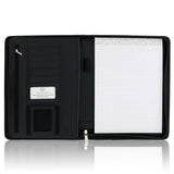 "Black Zippered Napa-Like PU Leather Portfolio with 10.5"" Tablet Sleeve"