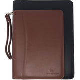 "Light Brown Mini Zippered PU Leather Padfolio with 8"" Tablet Sleeve"