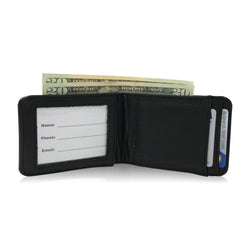 Slim Handmade Italian RFID-Blocking Black Leather Wallet in Gift Bag