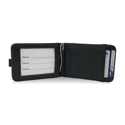 Slim Handmade Italian RFID-Blocking Black Leather Wallet with Money Clip in Gift Bag