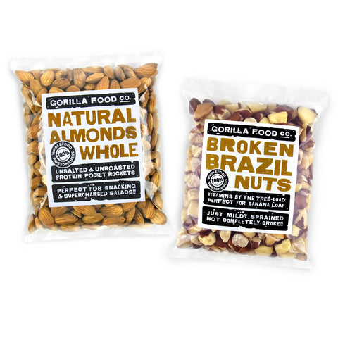 Almonds Whole & Brazil Nuts Broken Combo Pack - SAVE 10%!!!