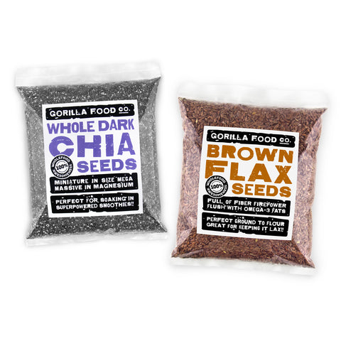 Chia Seeds & Brown Flax Seeds (Linseed) Combo Pack - SAVE 20%!!!