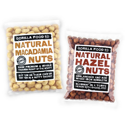 Macadamia Nuts & Hazelnuts Whole Combo Pack - SAVE 10%!!!