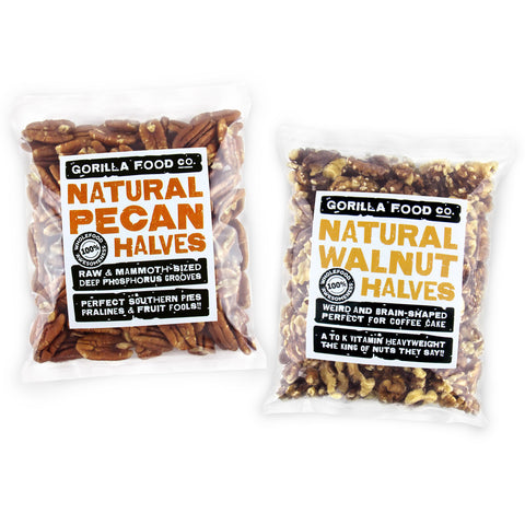 Gorilla Food Co. Pecan Nuts & Walnut Halves Combo Pack