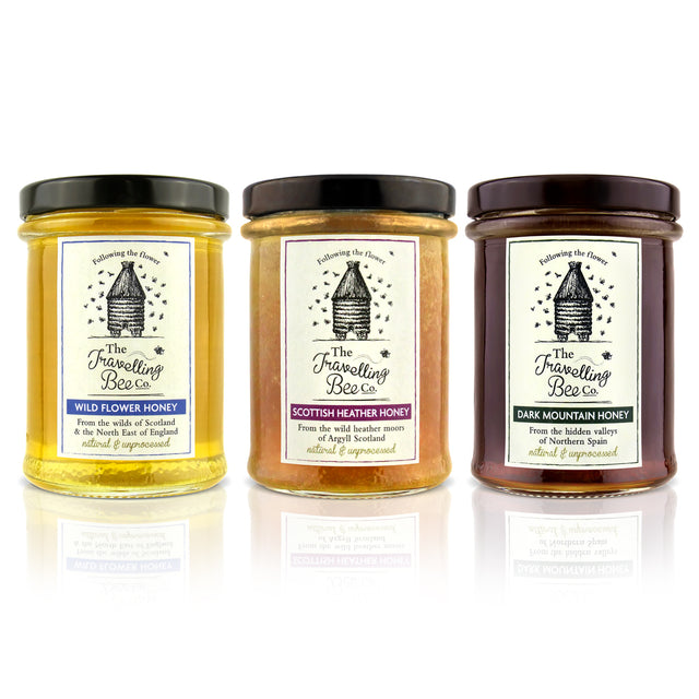 Travelling Bee Co. Natural Honey Triple Pack (Wildflower/Heather/Mountain) 3 x 227g - SAVE 10%