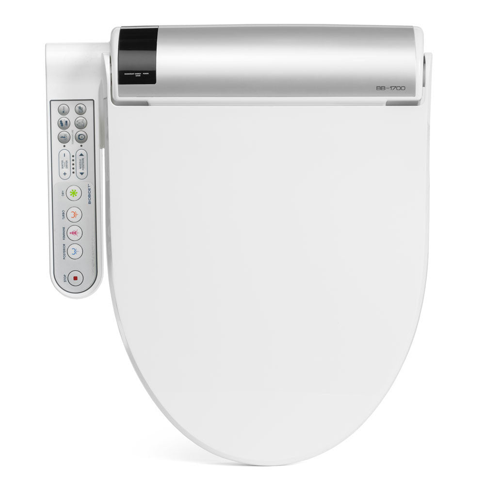 BIO BIDET BLISS BB-1700 ELONGATED Electronic Toilet Seat | On-Demand Heating | Stainless Steel Nozzle Jet Wash | Side Panel Control