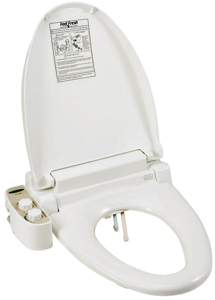 FEEL FRESH BIDET HI-1001 ELONGATED Non-Electric Toilet Seat, Twin Jet Nozzles, Cold Water Only