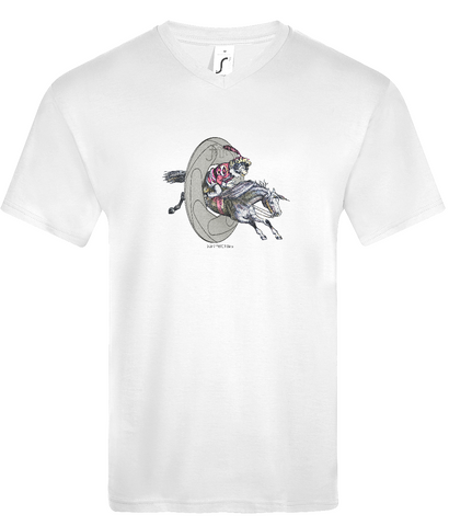 White colourway mens v neck T-Shirt with aperture, and victorian etching of a monkey riding a horse graphic