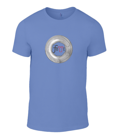 Mens Crew neck T-Shirt with lens aperture revealing f8TE logo in blue colourway