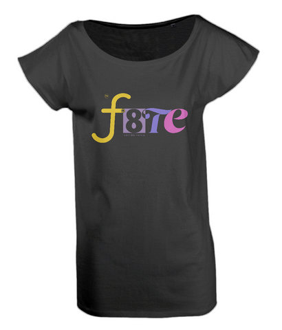 Black colourway womens T shirt with wide neck, features f8te colourful logo on chest