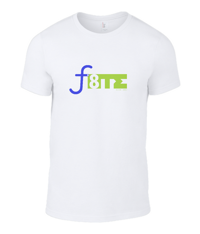 White colourway mens crew neck T- Shirt with f8TE logo