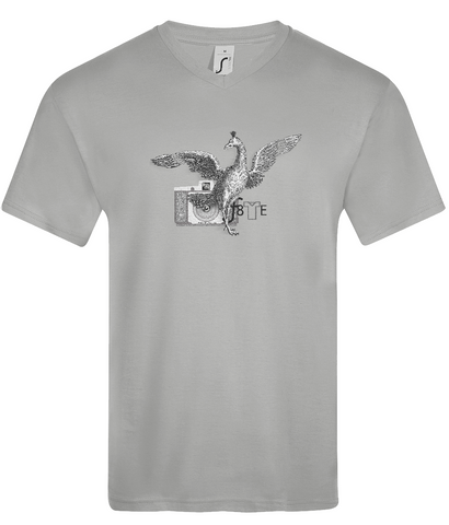 Grey Marl mens v neck T-Shirt with victorian etching of a phoenix and old 127 film camera graphic