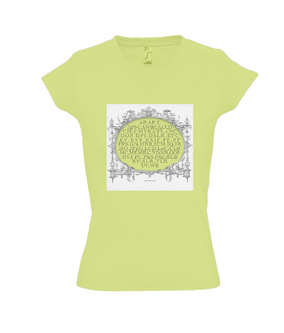 Womens V neck T-Shirt in apple green with photography acronym graphic
