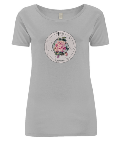 Womens open neck T-Shirt in grey with lens aperture and rose illustration