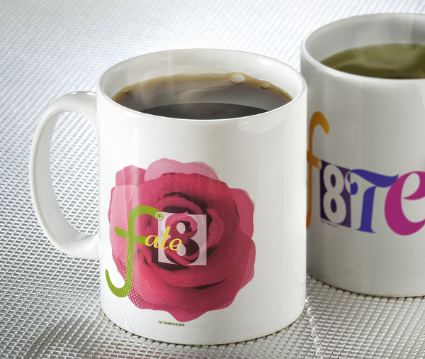 White Mug with Rose and fate8 photography graphic