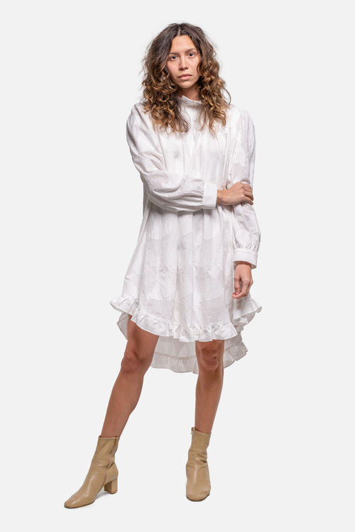 DOLLY DRESS - WHITE JACQUARD - Fortune Goods
