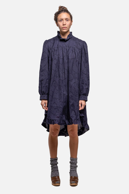 DOLLY DRESS - NAVY JACQUARD - Fortune Goods