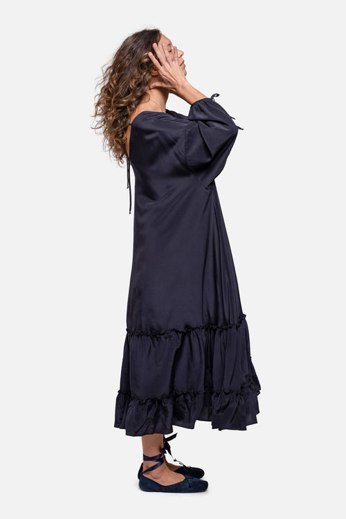 AWAY DRESS - NAVY SILK - Fortune Goods