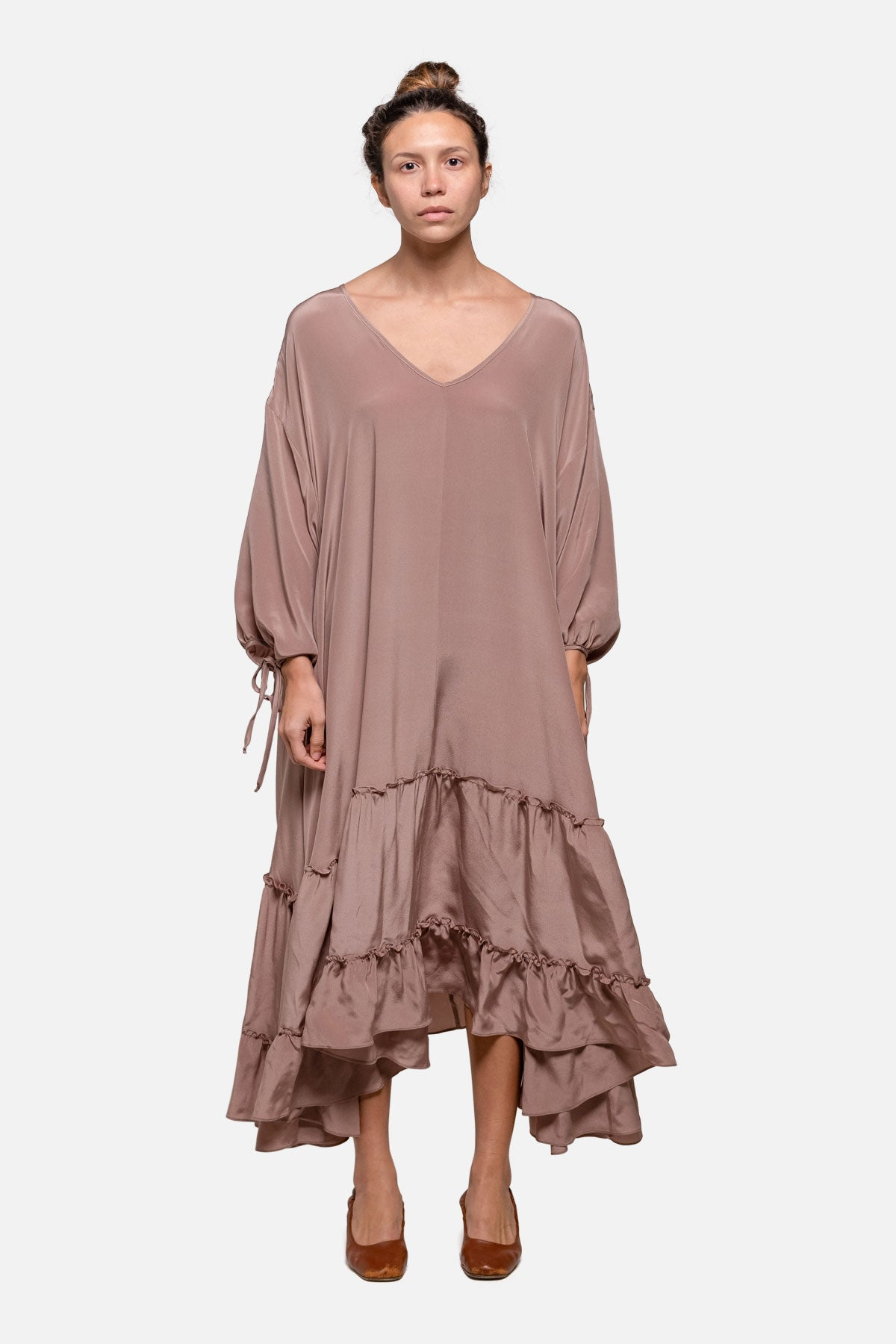 AWAY DRESS - MAUVE SILK - Fortune Goods