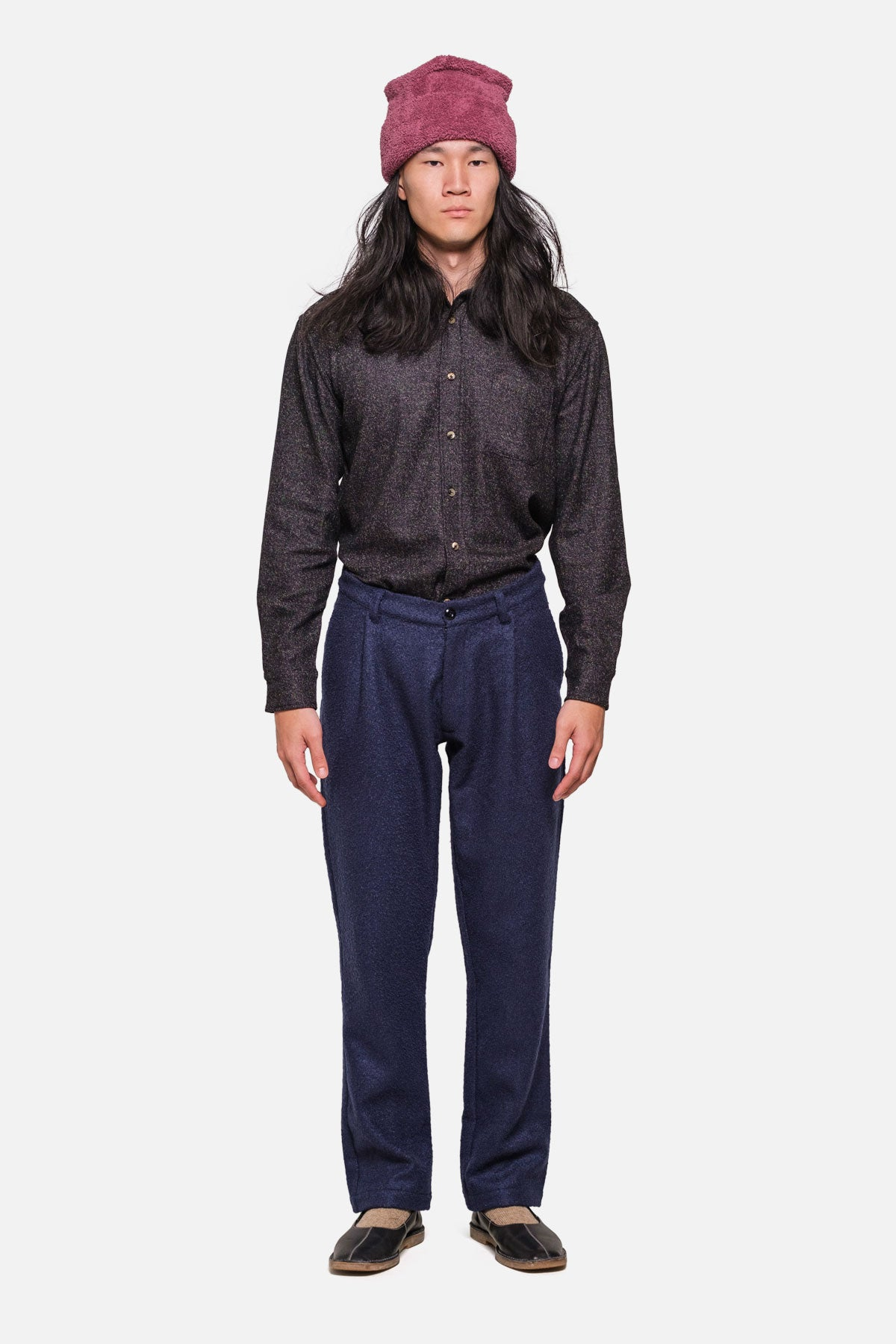 SINGLE PLEAT TROUSERS IN NAVY BOILED WOOL - Fortune Goods