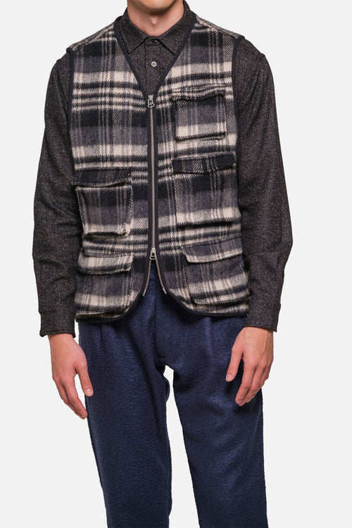 MJM VEST IN GREY/BLACK WOOL PILE PLAID - Fortune Goods
