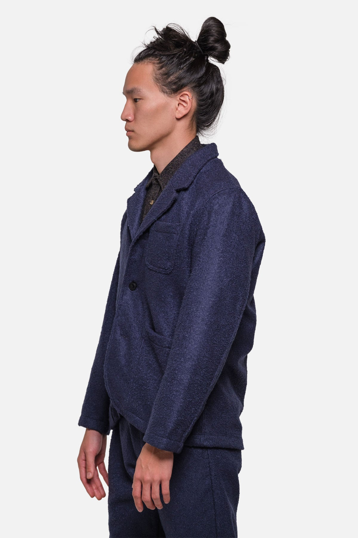 CASS JACKET IN NAVY BOILED WOOL - Fortune Goods