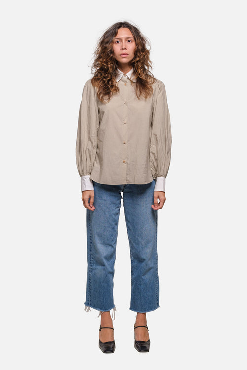 FARE BUTTON DOWN IN TAUPE WITH WHITE CONTRAST - Fortune Goods