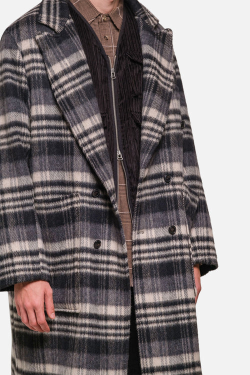 CHESTERFIELD COAT IN GREY/BLACK WOOL PILE PLAID - Fortune Goods