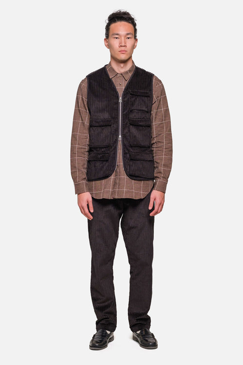 MJM VEST IN BLACK Hi-Lo CORDUROY - Fortune Goods