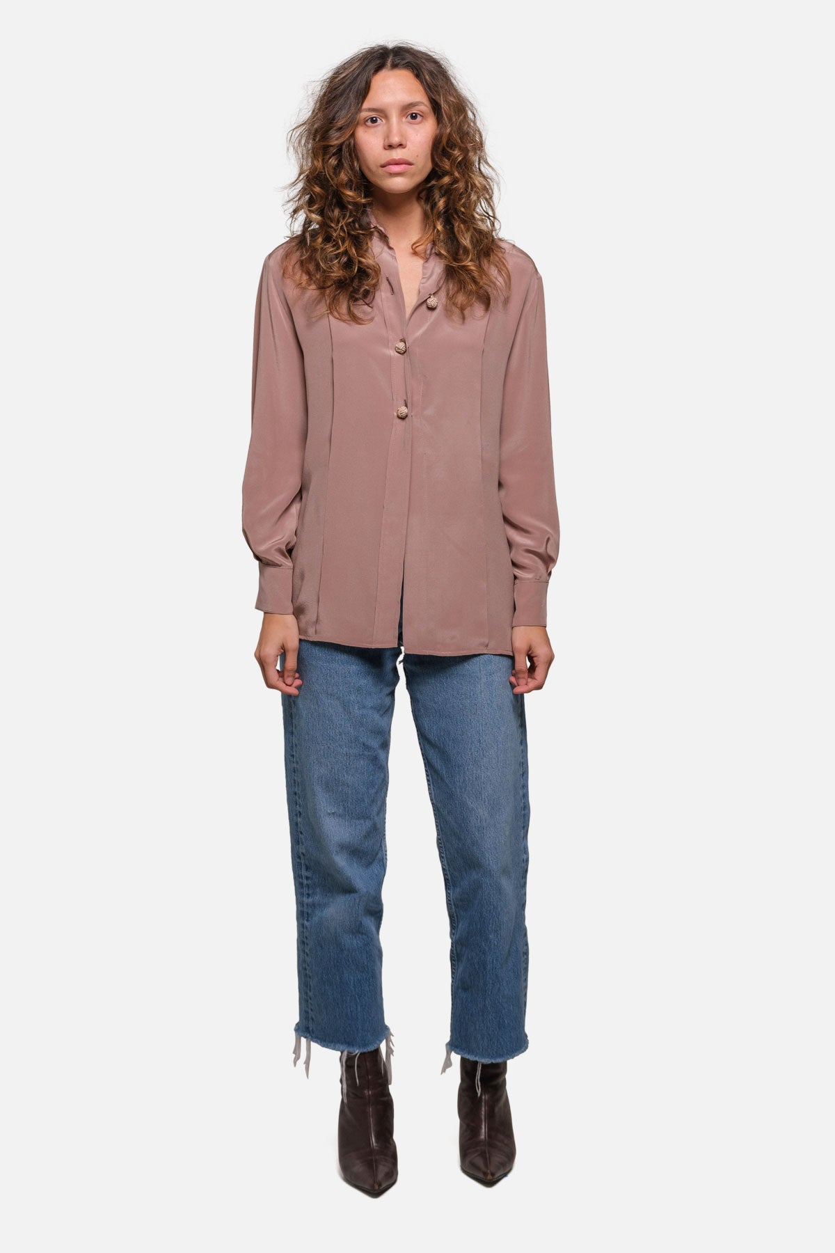 DRE BLOUSE IN MAUVE SILK - Fortune Goods