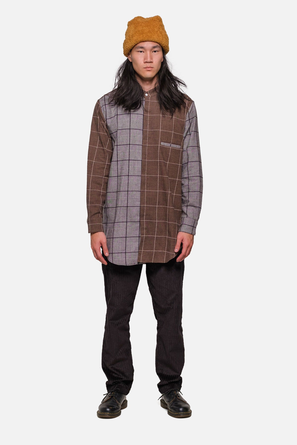 SHOREDITCH TUNIC IN COFFEE-BLACK PLAID MIX - Fortune Goods