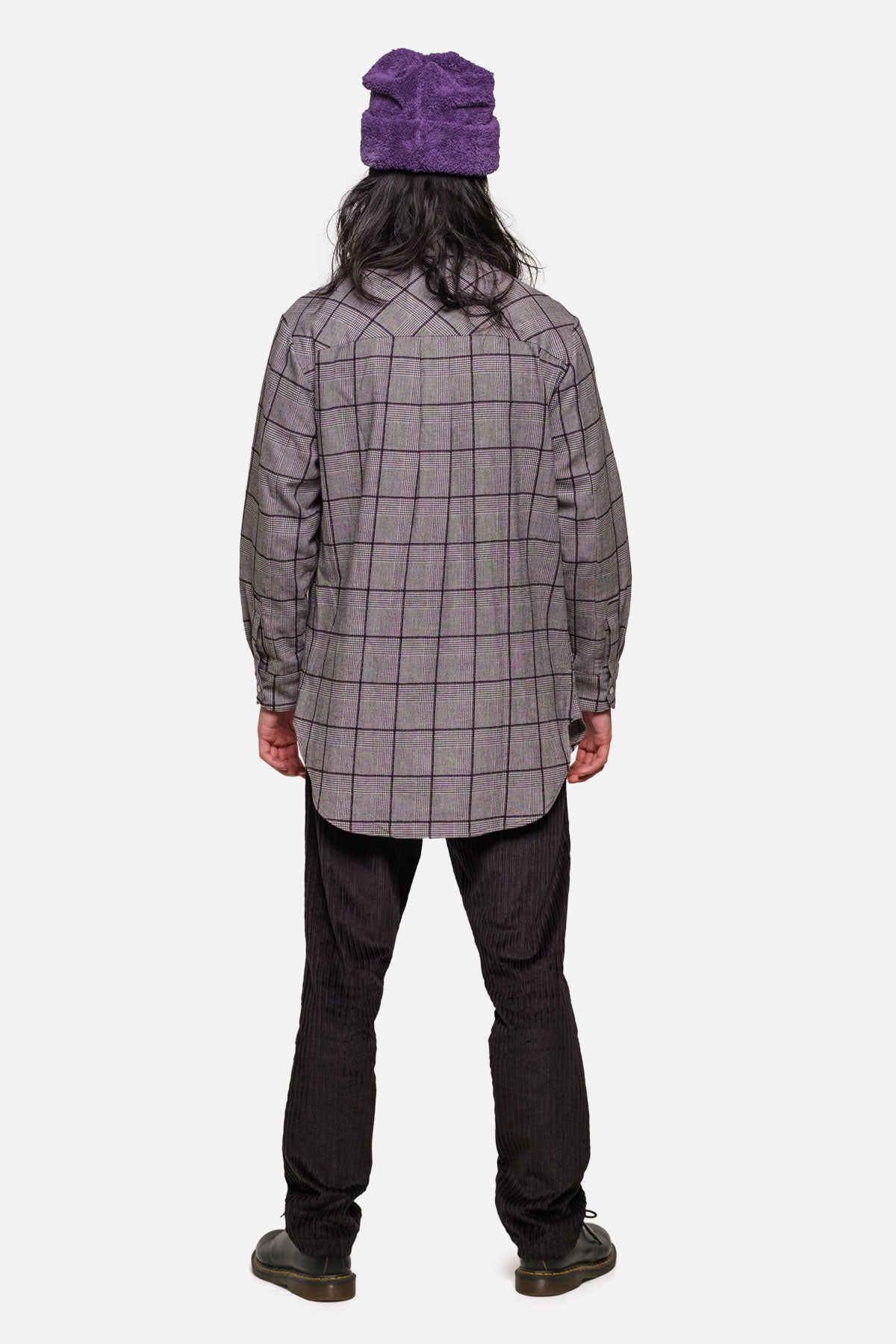 SHOREDITCH TUNIC IN BLACK WINDOWPANE PLAID - Fortune Goods