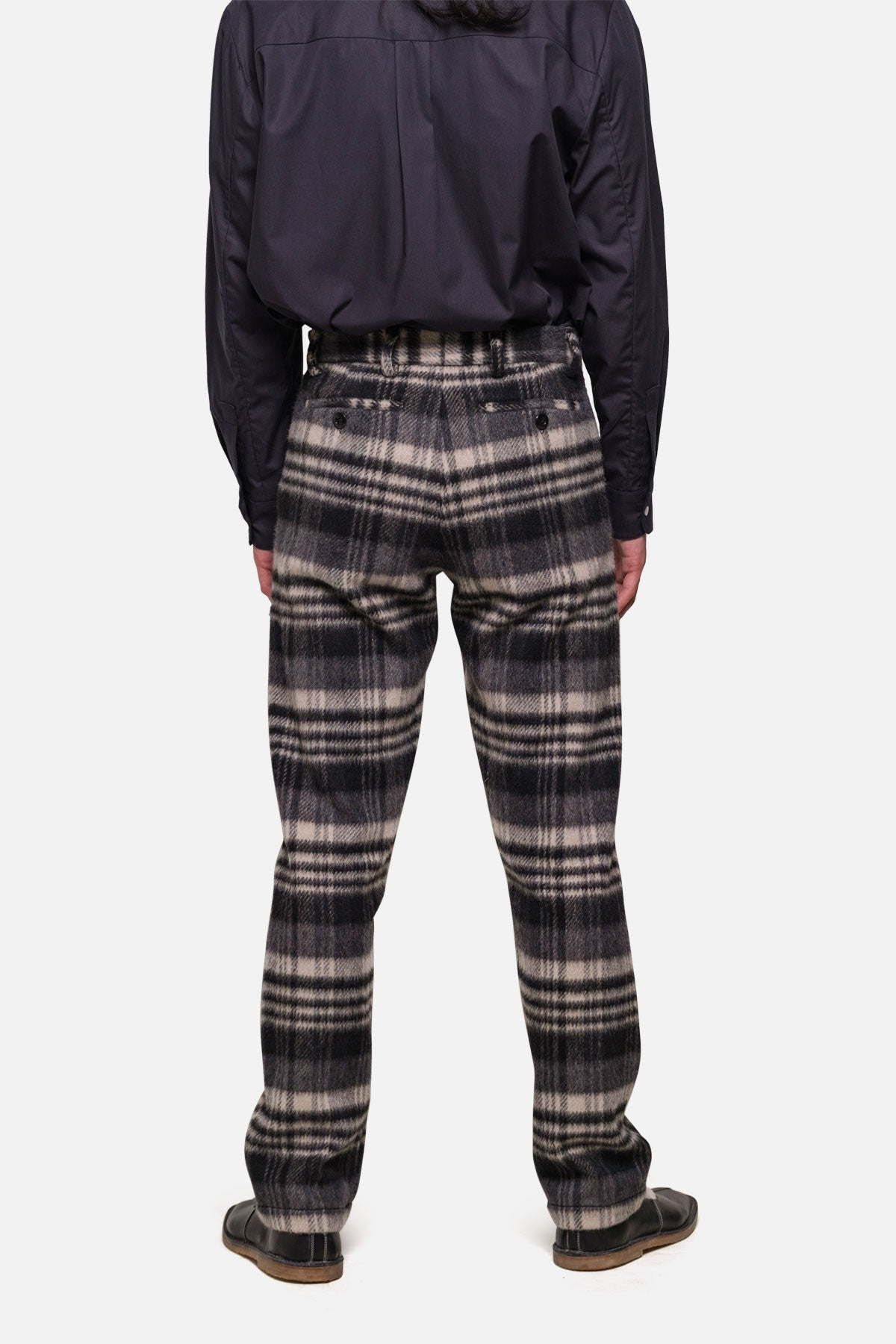 BRIGGS TROUSER IN GREY/BLACK WOOL PILE PLAID - Fortune Goods