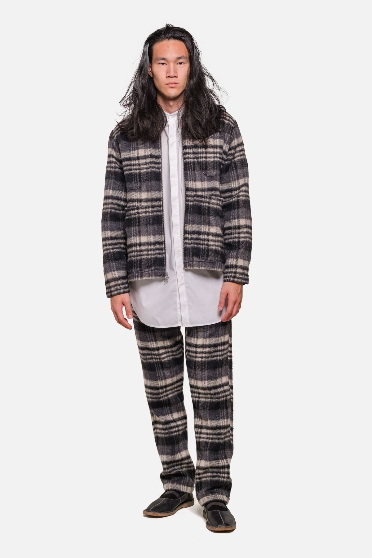 LINCOLN JACKET IN GREY/BLACK WOOL PILE PLAID - Fortune Goods