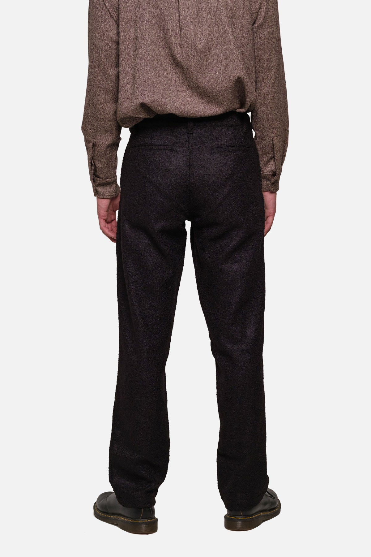 SINGLE PLEAT TROUSERS IN BLACK BOILED WOOL - Fortune Goods