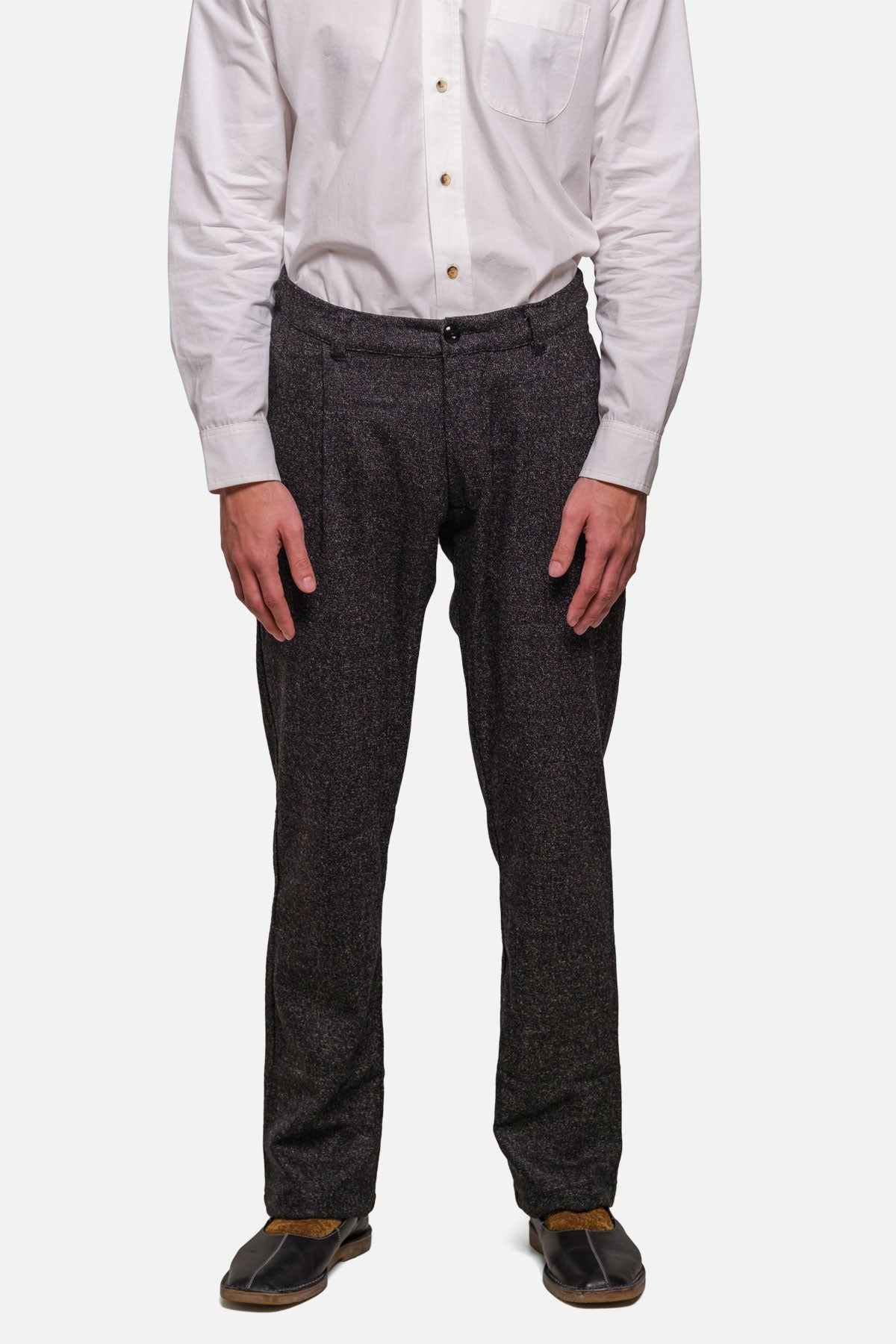 SINGLE PLEAT TROUSER IN BLACK TWEED - Fortune Goods