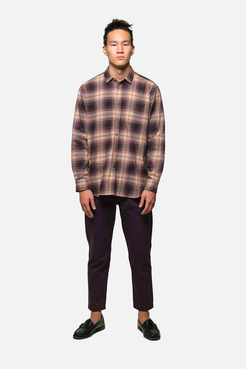 1905 SHIRT IN PURPLE WINDOWPANE PLAID - Fortune Goods
