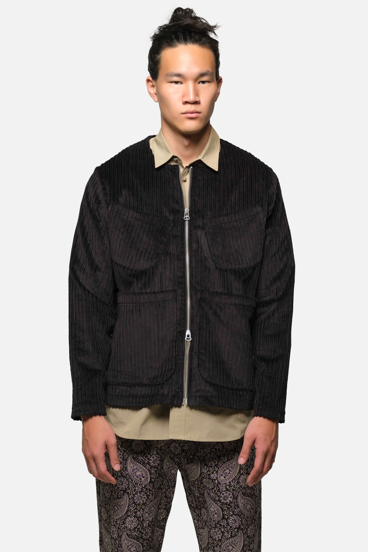 LINCOLN JACKET IN BLACK Hi-Lo CORDUROY - Fortune Goods