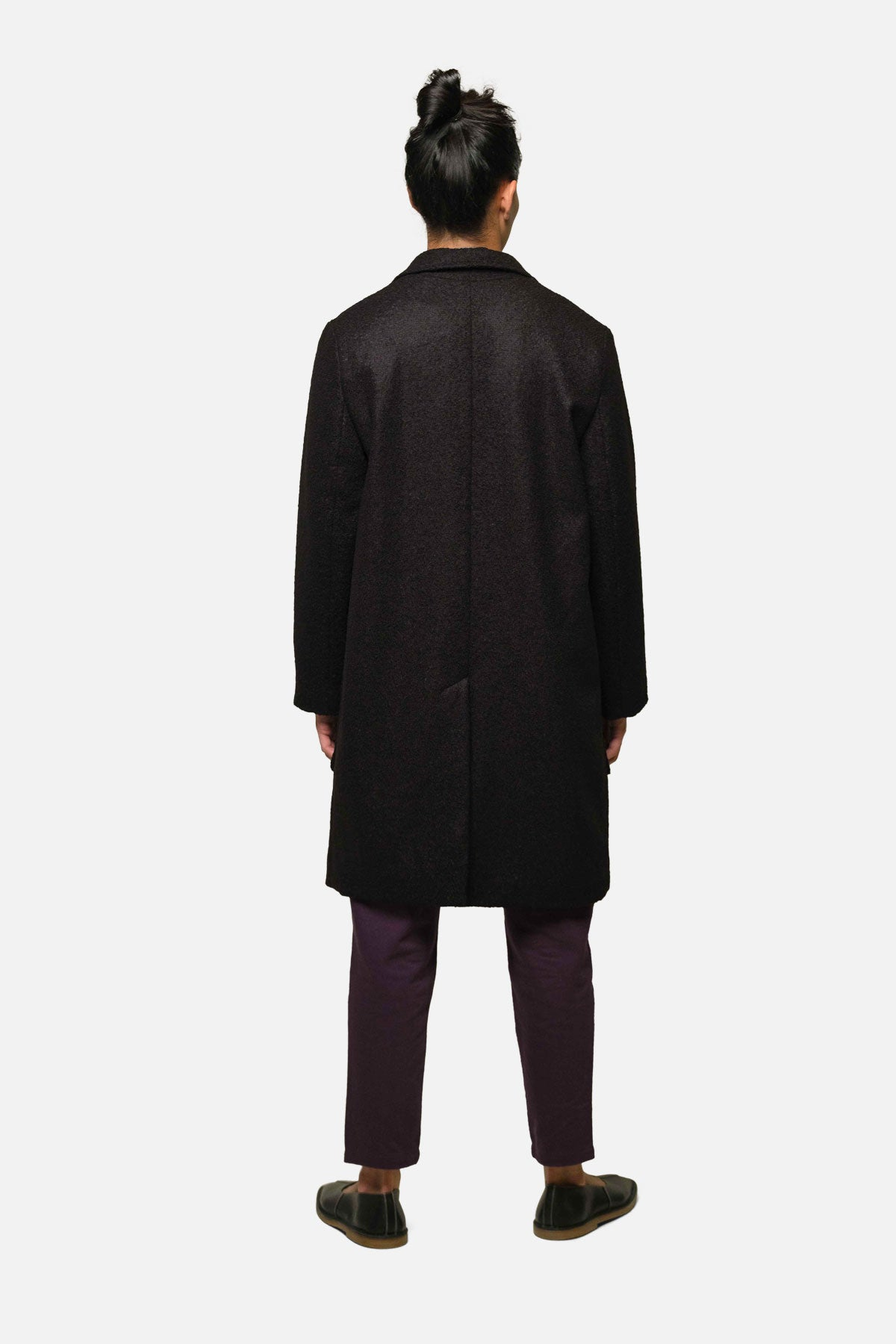 CHESTERFIELD COAT IN BLACK BOILED WOOL - Fortune Goods