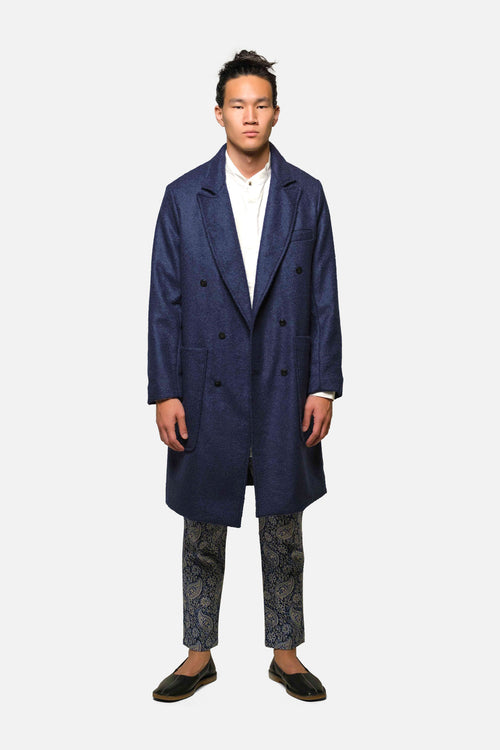 CHESTERFIELD COAT IN NAVY BOILED WOOL - Fortune Goods